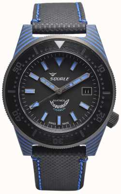 Squale Carbon Style | Black/Blue Dial | Black Microfiber Strap - Blue Stitching T183BL-CINT183BL