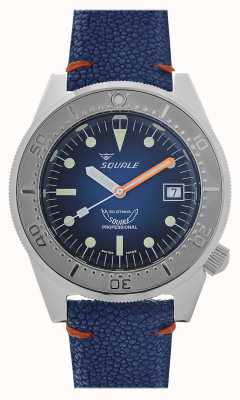 Squale 1521 Blue Ray | Blue Dial | Blue Leather Strap 1521PROFSS-CIN20RZBL