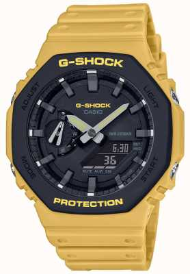 Casio | G-Shock | Carbon Core | Layered Bezel | Yellow Rubber Strap | GA-2110SU-9AER