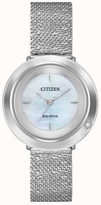Citizen Women's Ambiluna | Steel Mesh Bracelet | Mother Of Pearl Dial EM0640-58D