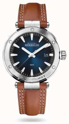Michel Herbelin Newport | Brown Leather Strap | Blue Dial 12288/15GON