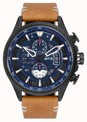 AVI-8 HAWKER HUNTER | Chronograph | Blue Dial | Brown Leather Strap AV-4064-01
