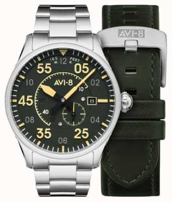 AVI-8 SPITFIRE | Automatic | Green Dial Stainless Steel Bracelet | Extra Leather Strap AV-4073-22
