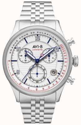 AVI-8 FLYBOY LAFAYETTE   Chronograph   White Dial   Stainless Steel Bracelet AV-4076-11