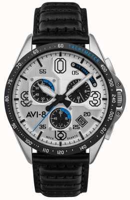 AVI-8 P-51 MUSTANG   Chronograph   Silver Dial   Black Leather Strap AV-4077-01