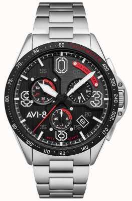 AVI-8 P-51 MUSTANG | Chronograph | Black Dial | Stainless Steel Bracelet AV-4077-11