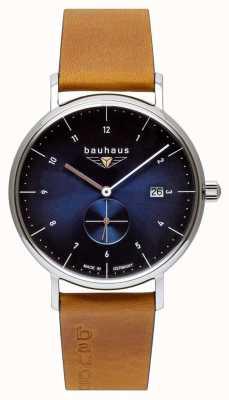 Bauhaus Men's Brown Italian Leather Strap | Blue Dial 2130-3