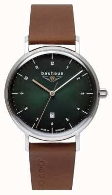Bauhaus Men's Brown Italian Leather Strap | Green Dial 2140-4