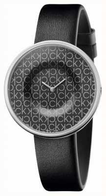 Calvin Klein | Women's | Mania | Black Leather Strap | Black CK Pattern Dial | KAG231CX
