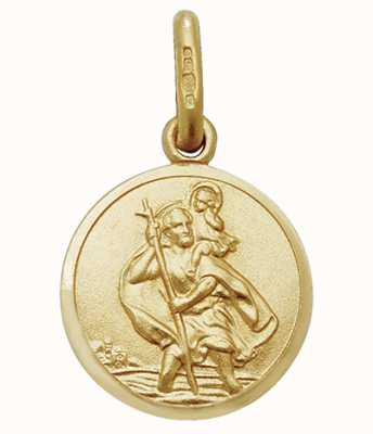 James Moore TH 9ct Yellow Gold Small St Christopher Disc Pendant PN143