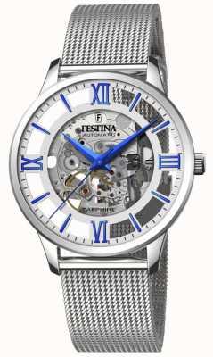 Festina Men's Automatic Skeleton | Steel Mesh Bracelet | Silver/Blue Dial F20534/1