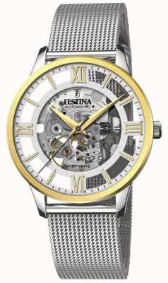 Festina Men's Automatic Skeleton | Steel Mesh Bracelet | Skeleton Dial F20537/1