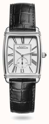 Michel Herbelin Women's | Art Déco | Silver Dial | Black Leather Dial 10638/08