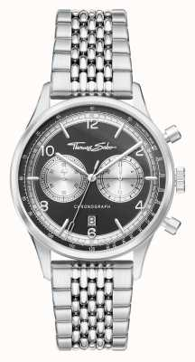 Thomas Sabo   Rebel At Heart   Men's   Stainless Steel Bracelet   Black Dial   WA0375-201-203-40