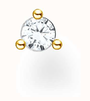 Thomas Sabo Gold Plated Single Stud Earring | White Stones H2197-414-14