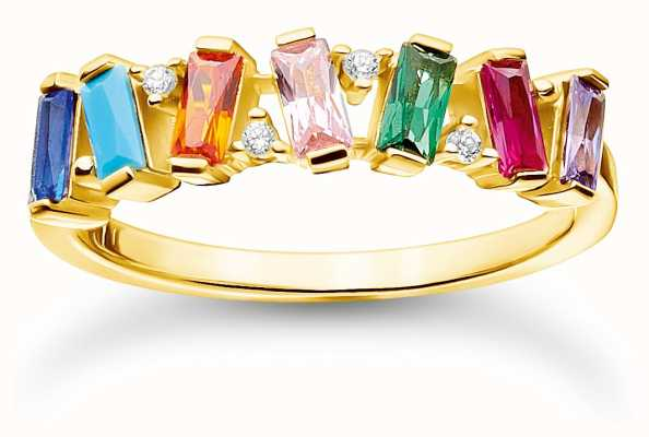 Thomas Sabo Gold Plated Colourful Stones Double Ring | Size 54 (UK N) TR2346-488-7-54