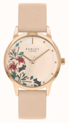 Radley Women's Nude/Light Pink Leather Strap   Cream Floral Dial RY21220A