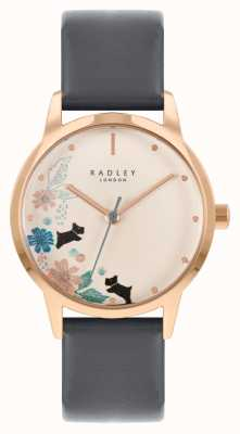 Radley Women's Black Leather Strap   Cream Floral Dial RY21262A