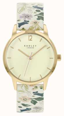 Radley Women's White Floral Leather Strap | Champagne Dial RY21232A