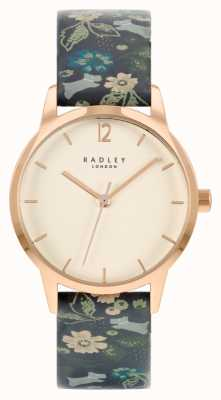 Radley Women's Black Floral Leather Strap   White Dial RY21234A
