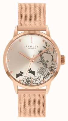 Radley Women's Rose Gold Mesh Bracelet | Silver Floral Dial RY4582A