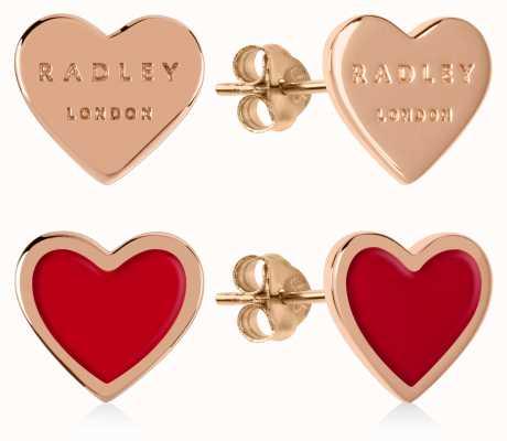 Radley Jewellery Love Letters   Rose Gold Plated & Red Heart Stud Earrings RYJ1154S-CARD