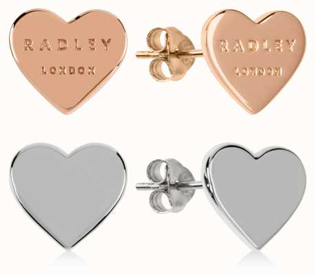 Radley Jewellery Love Letters   Rose Gold And Silver Heart Stud Earrings   Set RYJ1155S-CARD