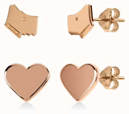 Radley Jewellery Love Heart   Rose Gold Plated Dog Head & Heart Stud Earrings Set RYJ1166S-CARD