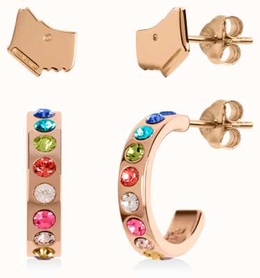 Radley Jewellery Love Letters   Rose Gold Plated Dog Head & Hoop Stud Earring Set RYJ1162S-CARD
