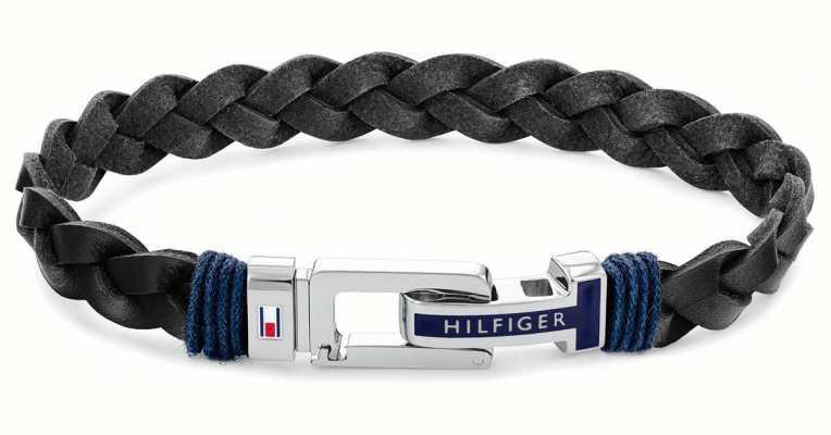 Tommy Hilfiger Casual   Men's Black Leather Bracelet 2790307