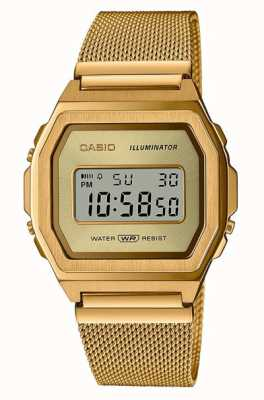Casio Vintage | Digital | Gold PVD Stainless Steel Mesh A1000MG-9EF