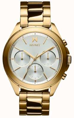 MVMT Getaway   Women's Gold Plated Steel Bracelet   Silver Dial 28000128-D