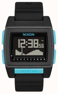 Nixon Base Tide Pro | All Black / Blue | Digital | Black Silicone Strap A1307-602