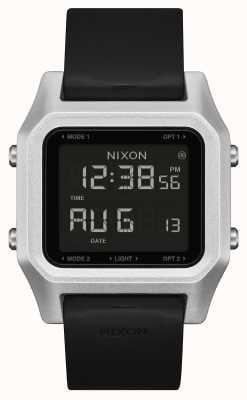 Nixon Staple | Silver / Black | Digital | Black Silicone Strap A1309-625