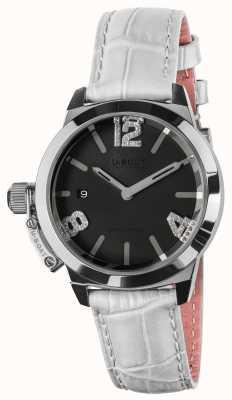 U-Boat Classico 38 Black Dial White Leather Strap 8482