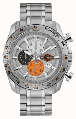 Harley Davidson Men's Stainless Steel Bracelet | Silver Dial 76B186