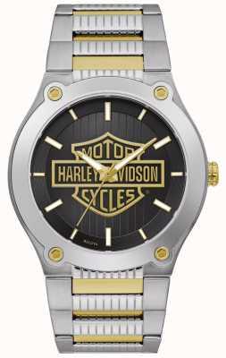 Harley Davidson Men's Two-Tone Steel Bracelet | Black Dial 78A126