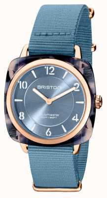 Briston Clubman Chic | Rose Gold 36mm Blue Dial | Blue Nato Strap 21536.PRA.UB.25.NIB