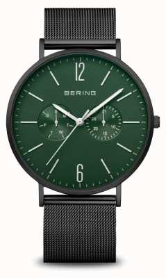 Bering Classic   Men's   Mat Black   Black Mesh Strap 14240-128