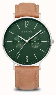 Bering Classic   Men's   Polished Silver   Brown Leather Strap 14240-608
