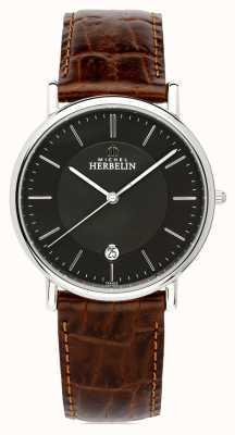 Michel Herbelin Men's Classique | Brown Leather Strap | Black Dial 12248/14MA