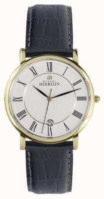 Michel Herbelin Classic | 38mm | White Dial | Black Leather Strap 12248/P08