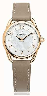 Michel Herbelin Equinoxe   Mother Of Pearl Dial   Taupe Leather Strap 17497/PR29GR
