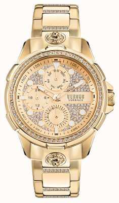 Versus Versace 6eme Arrondissment Crystal Set Gold Watch VSP1M0521