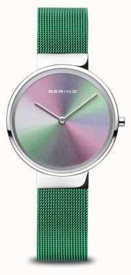 Bering Anniversary   Women's   Polished Silver   Green Mesh Bracelet 10X31-ANNIVERSARY1