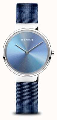 Bering Anniversary | Women's | Polished Silver | Blue Mesh Bracelet 10X31-ANNIVERSARY2