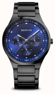 Bering Classic   Men's   Brushed Black   Blue Dial 11740-727
