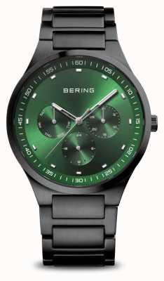 Bering Classic   Men's   Brushed Black   Green Dial 11740-728