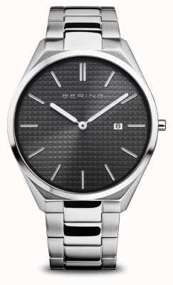 Bering Ultra Slim   Men's   Polished/Brushed Silver   Black Dial 17240-702