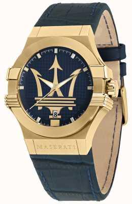 Maserati Potenza Men's Blue Leather Strap Watch R8851108035